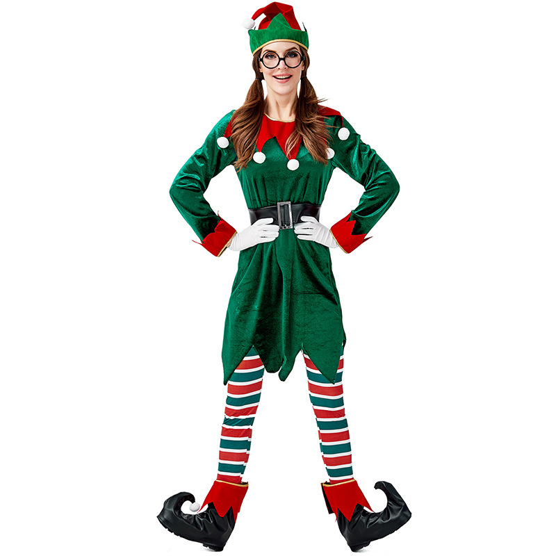 2019 Green Spirit Of Christmas Elves Costumes For Woman And Man Christmas Party Cosplay Full Set