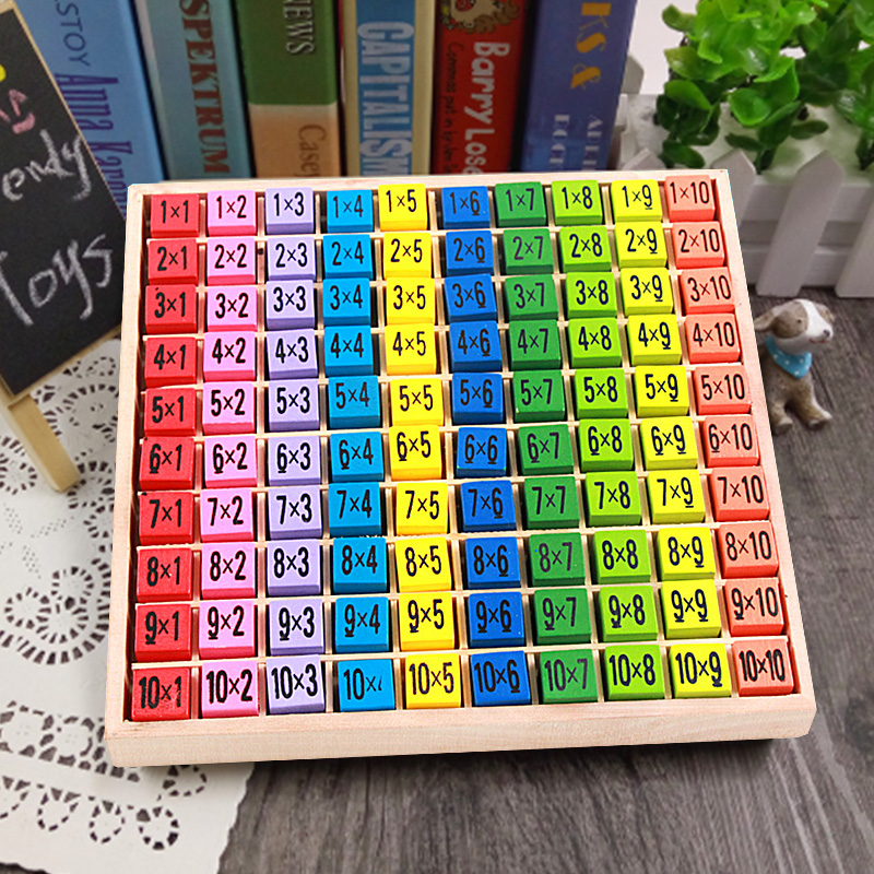 Montessori Educational Wooden Toys Multiplication Table Kids Montessori Math Toy Arithmetic Teaching Aids for Kids(China)