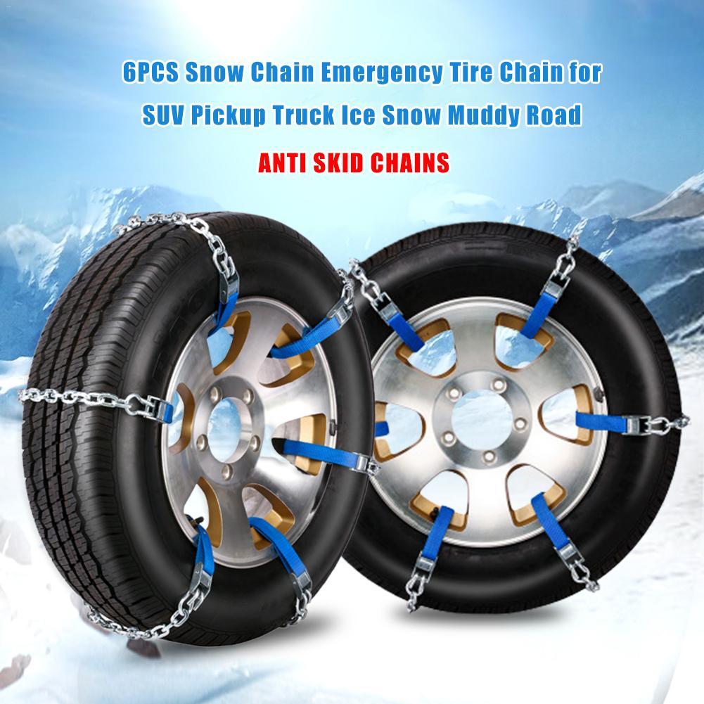 6 шт., цепи для снега, универсальные цепи для снега, цепь для аварийных шин для внедорожников, пикапов, грузовиков, ледяных снегов, грязных проезжей части, цепи для безопасности шин
