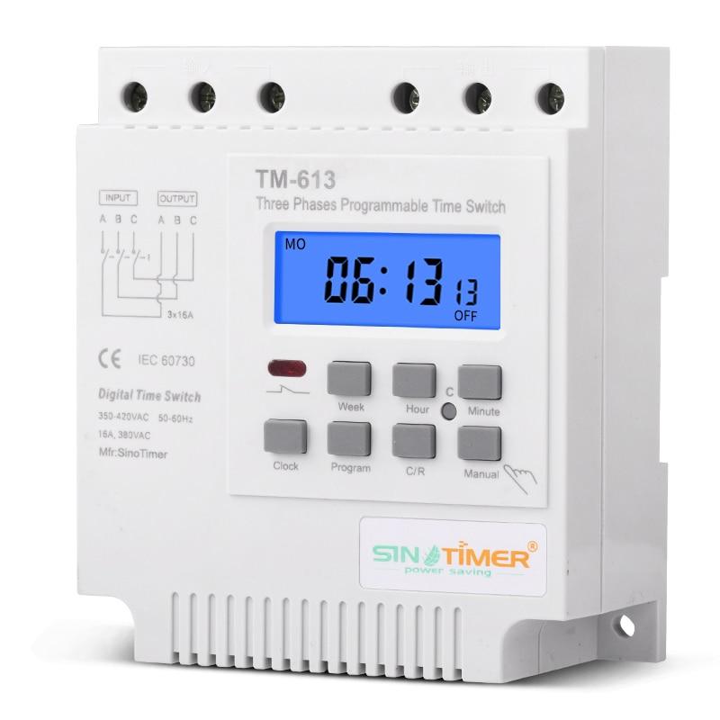 TM613 380V 16A három fázisú, digitális, 7 napos programozható relé időzítő kapcsoló kipufogóvíz szivattyú motor intelligens idővezérlő