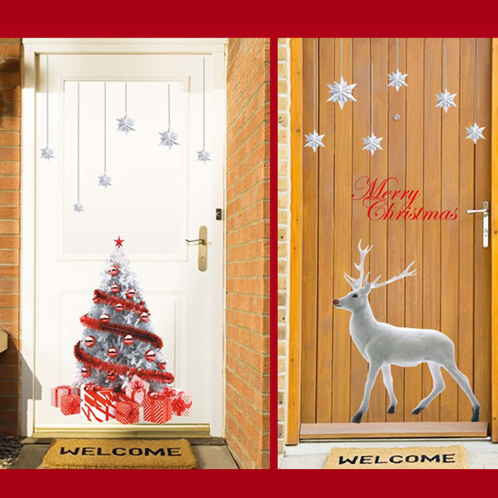decorative and attractive Wall Sticker Christmas White Deer Home Window Shop Display Glass Decoration image