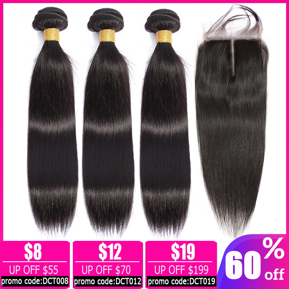 LEVITA Straight Hair Bundles With Closure Peruvian Human Hair Bundles With Closure Non-remy Brazilian Hair Weave Bundles