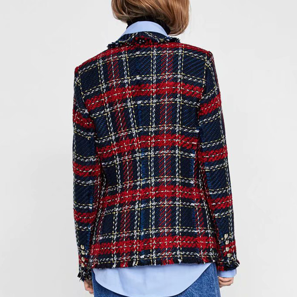 Vintage Double Breasted Frayed Checked Tweed Blazers Coat Women 2019 Fashion Pockets Plaid Ladies Outerwear Casual Office Blazer