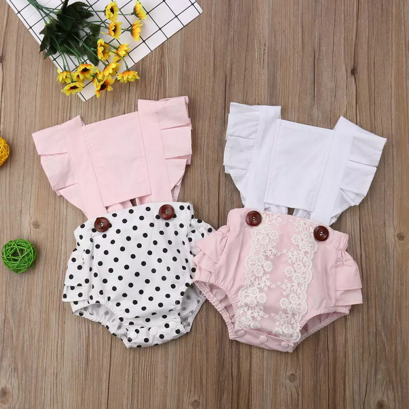 2020 Spring Lace Ruffles Newborn Toddler Baby Girl Romper Floral Print Sleeveless Backless Bow Bodysuit Jumpsuit Outfit 6-24M