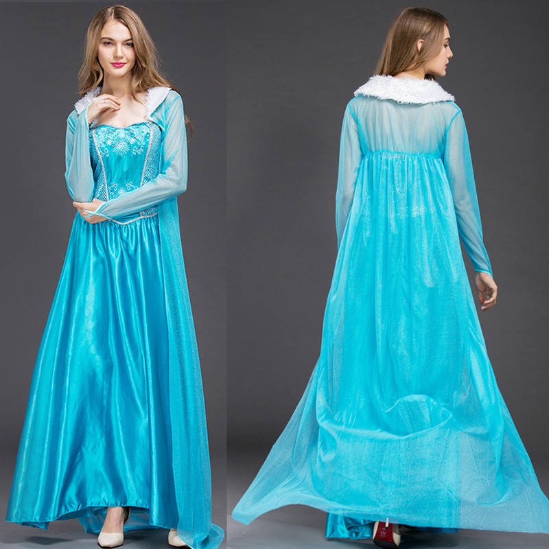 2019 Adult Elsa Princess Dress Queen Anna Costume Grow Princess Elsa Cosplay Costume for Women Halloween Costumes with wig
