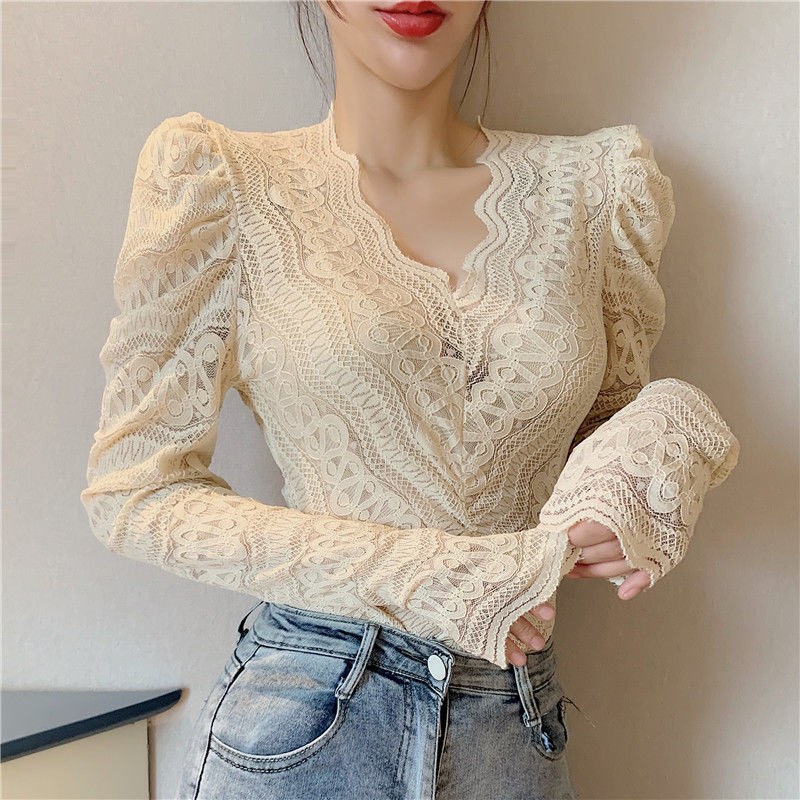 Blouses Women Elegant V Neck Slim Hollow Out Lace Blouses Autumn All-match Vintage Full Puff Sleeve Elastic Shirts Tops 7