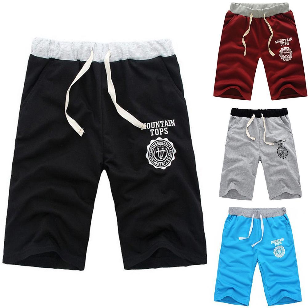 Fashion Summer Men Elastic Waist Shorts Pants Home Beach Trousers Joggers Plain Half Trousers Male Whith Pocket Pants