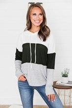 OEAK 2019 New Women Autumn Casual Sweatshirts Long Sleeve Patchwork Hooded Pullovers Hoodies Sweatshirt Female Fashion