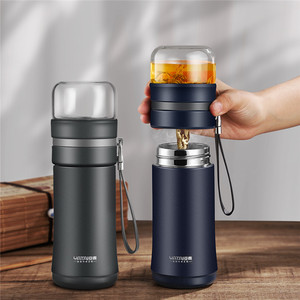 Glass Water Bottle With Tea Se