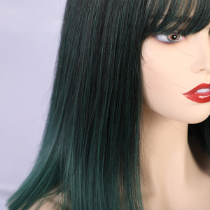 Image 4 - ALAN EATON Women Medium Straight Synthetic Wigs High Temperature Hair with Fringe/bangs Mix Green Black Bobo Lolita Cosplay Wig