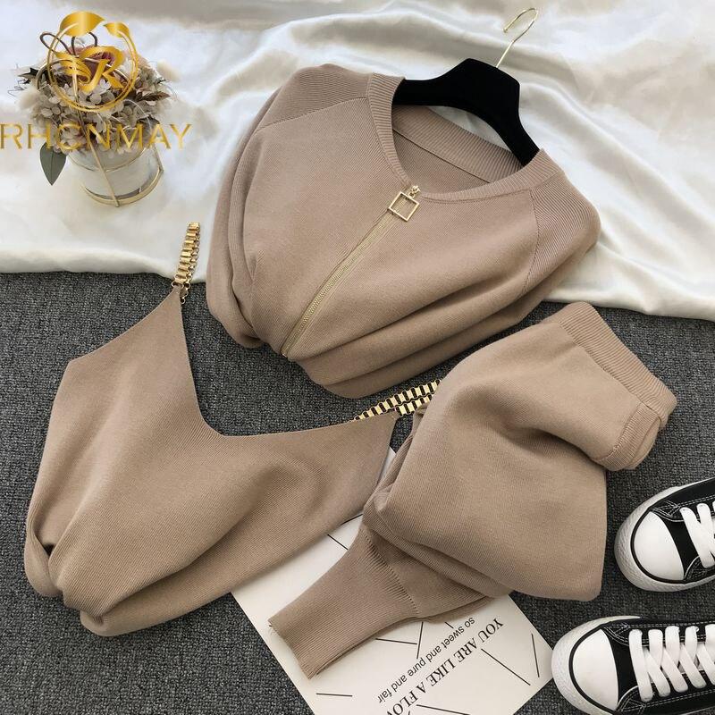 Женский трикотажный кардиган на молнии, комплект из 2 предметов: свитер, брюки и жилет