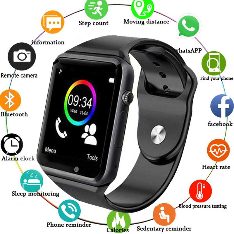 Armbanduhr A1 Bluetooth Smart Uhr Männer Sport Schrittzähler mit SIM Kamera Smartwatch für Android Smartphone Russland Gute PK DZ09
