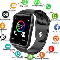 Montre-bracelet A1 Bluetooth montre intelligente hommes Sport podomètre avec caméra SIM Smartwatch pour Smartphone Android russie bon PK DZ09
