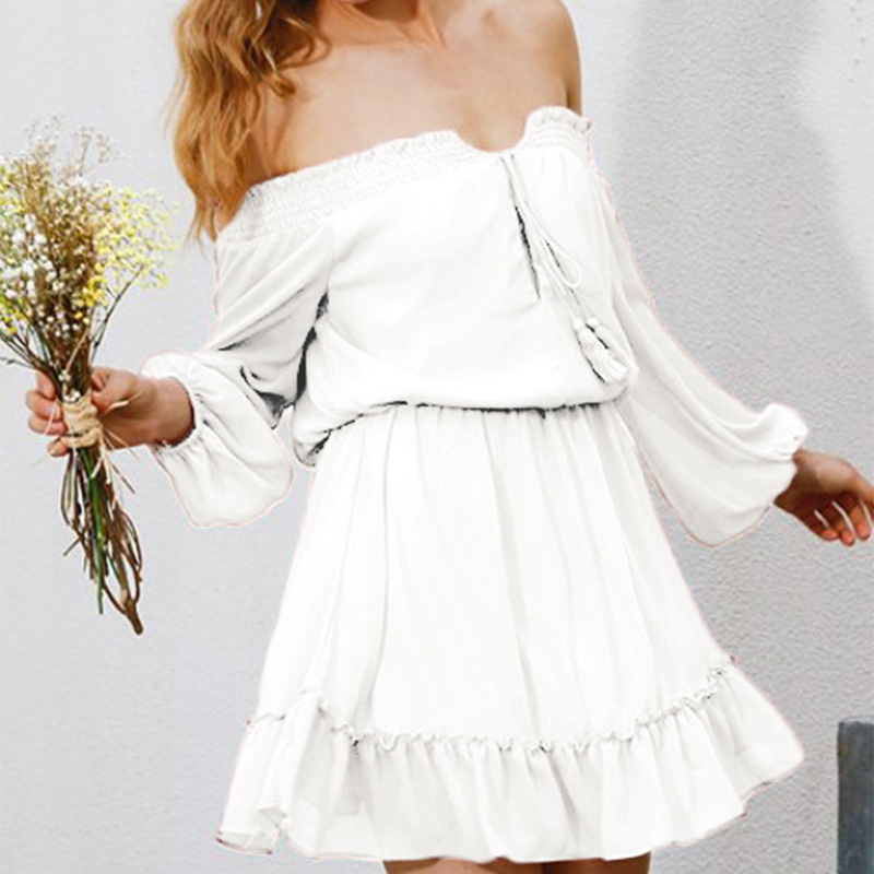 V-neck Lantern Sleeve White <font><b>Sexy</b></font> <font><b>Dress</b></font> <font><b>Women</b></font> Loose <font><b>Chiffon</b></font> Summer <font><b>Dress</b></font> Female <font><b>Fashion</b></font> Casual <font><b>Women's</b></font> Clothing <font><b>Elegant</b></font> Sundress image