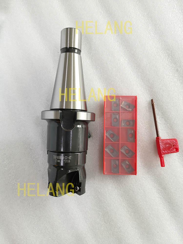 Carboneto de Inserção 45l + Bap400r Mill + 10 Novo Face End Pces Apmt1604 Fresagem Cnc Nt40 Fmb22 50-22-4t