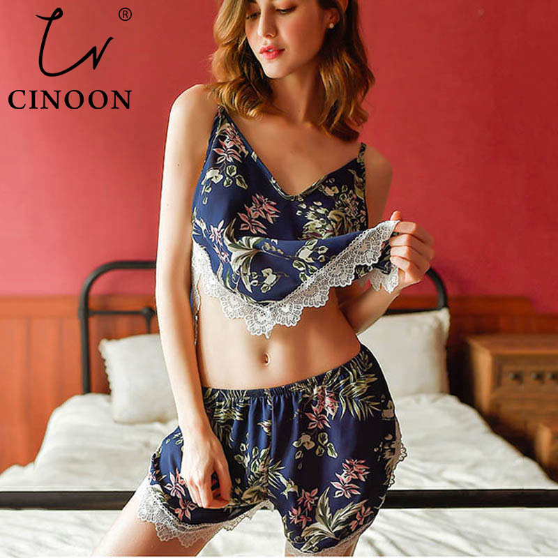 CINOON Lace Sexy Women Pajamas V-Neck Female Summer Fashion Flower Pajama Set Summer Fashion Female Sleepwear