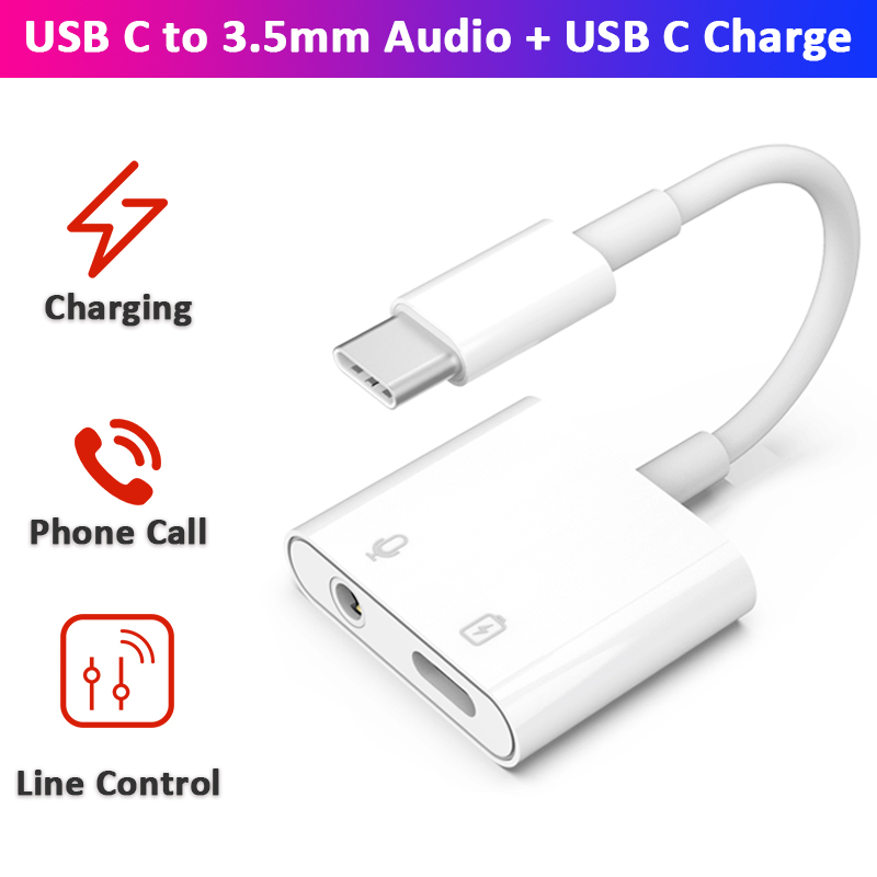 USB C To 3.5mm Aux & USB C Charge Adapter DAC 24bit 96Khz Converter Digital Decoder PD 60W For SAMSUNG Note 10 HUAWEI P30 Pro
