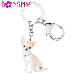 Bonsny acrylique mignon Chihuahua chien porte-clés Original Animal de compagnie porte-clés bijoux pour femmes enfants cadeau sac sac à main breloques