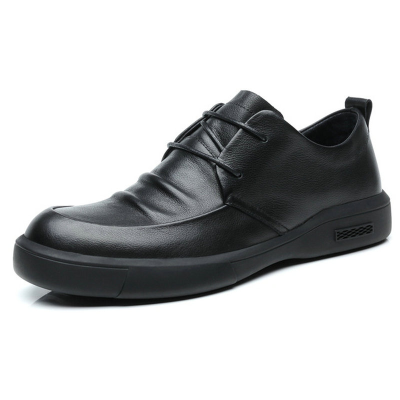 Male Genuine leather Shoes Adult NEW Men Sneakers Shoes Men Black Casual Shoes Fashion Leather Lace