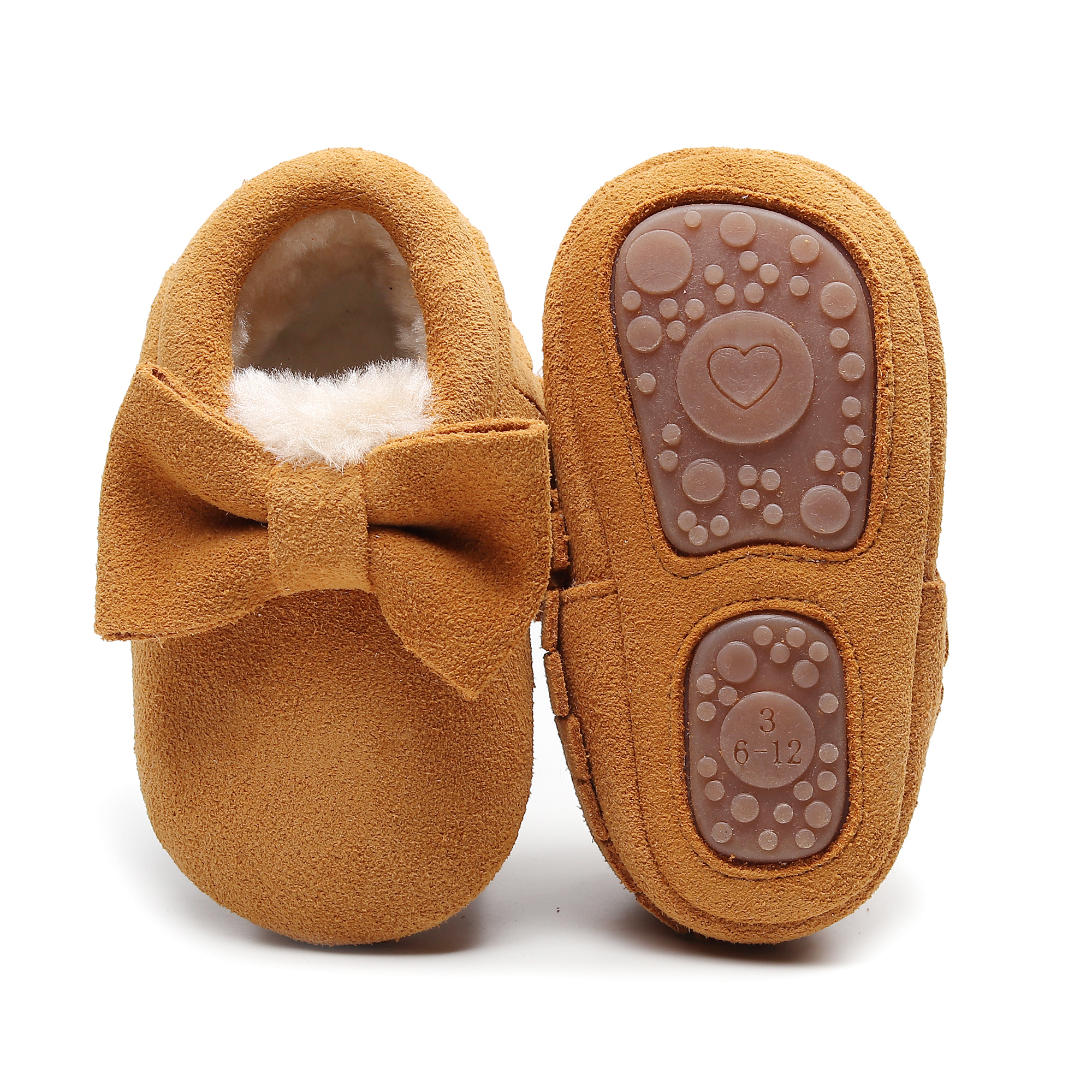 High Quality Baby Winter Suede Shoes Genuine Leather Infant Toddler Moccasins Bow Fringe Hard Rubber Sole Prewalker Warm Shoes