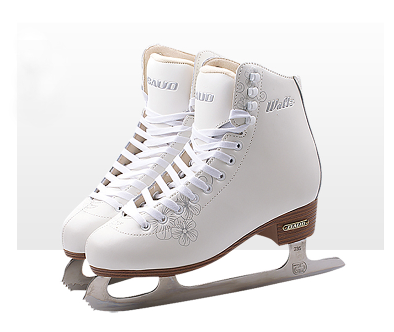 Kids Children Professional Genuine Leather Thermal Warm Thicken Figure Ice Skates Shoes With Ice Blade PVC Waterproof White