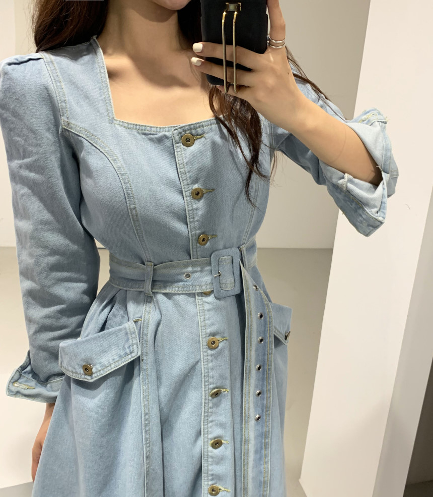Neploe Elegant Square Collar Women Dress Chic Single Breasted Long Sleeve Denim Vestidos Lace Up Slim Waist Female Dresses 49567
