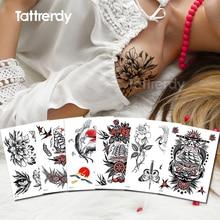 временный стикер татуировки цветы роза пион рисовать эскизы одежды уникальный рукав цветок повязки девушки наклейки