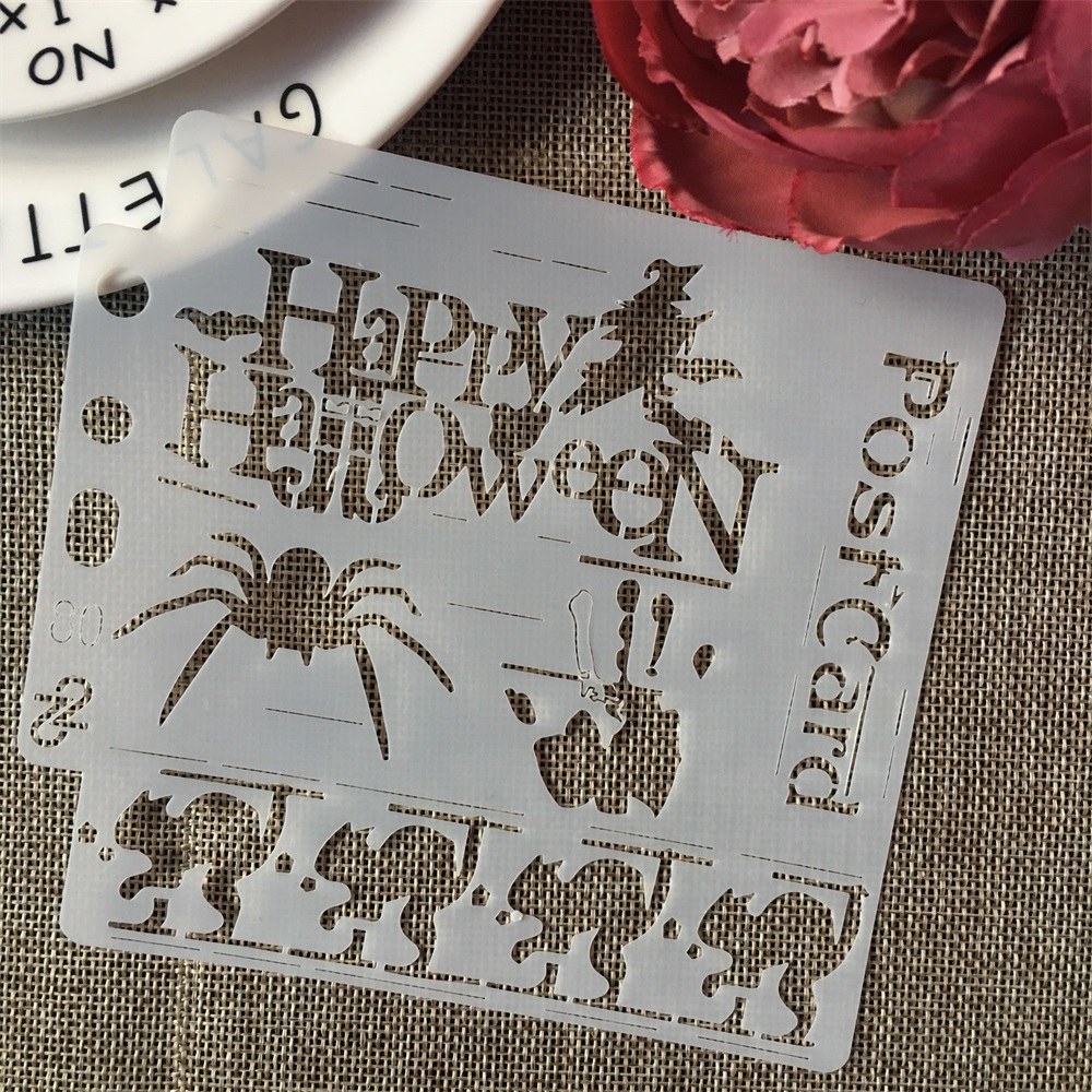 5inch Halloween Spider Blood Animals DIY Layering Stencils Painting Scrapbook Coloring Embossing Album Decorative Card Template