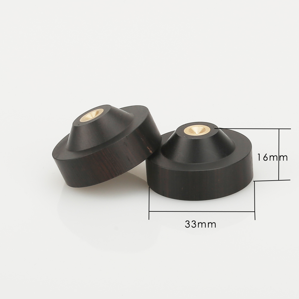 4 pcs 33mm Ebony Wood Speaker Spike Pad Loudspeaker Box Amplifier Shockproof Stand Isolation Feet Base Pad