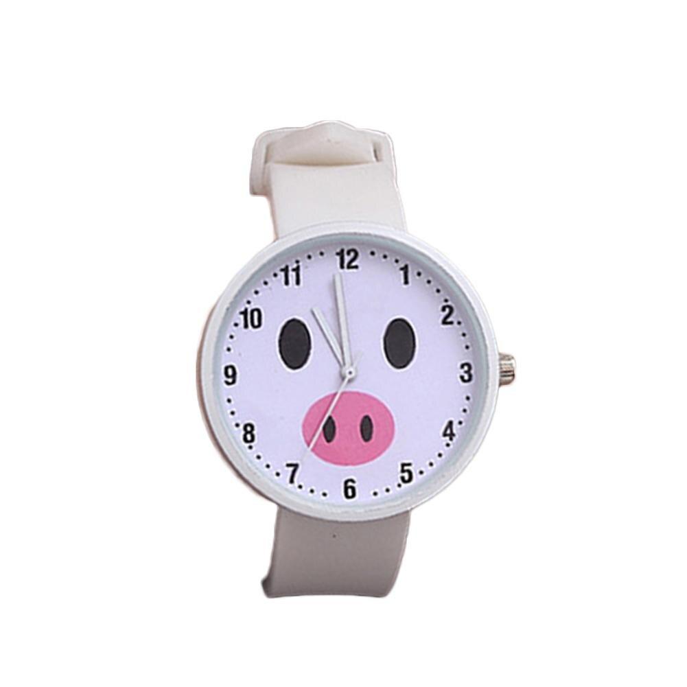 Kids Cute Watch Fish Pig 2 Kinds Pattern Round Dial Silicone Belt Arabic Digital Analog Quartz Watch Children Watches Best Gifts
