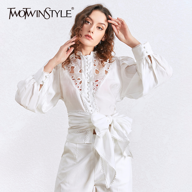 TWOTWINSTYLE Hollow Out Lace Blouses Female Lapel Collar Lantern Long Sleeve Lace Up Bow Shirts For Women 2020 Fashion Clothing