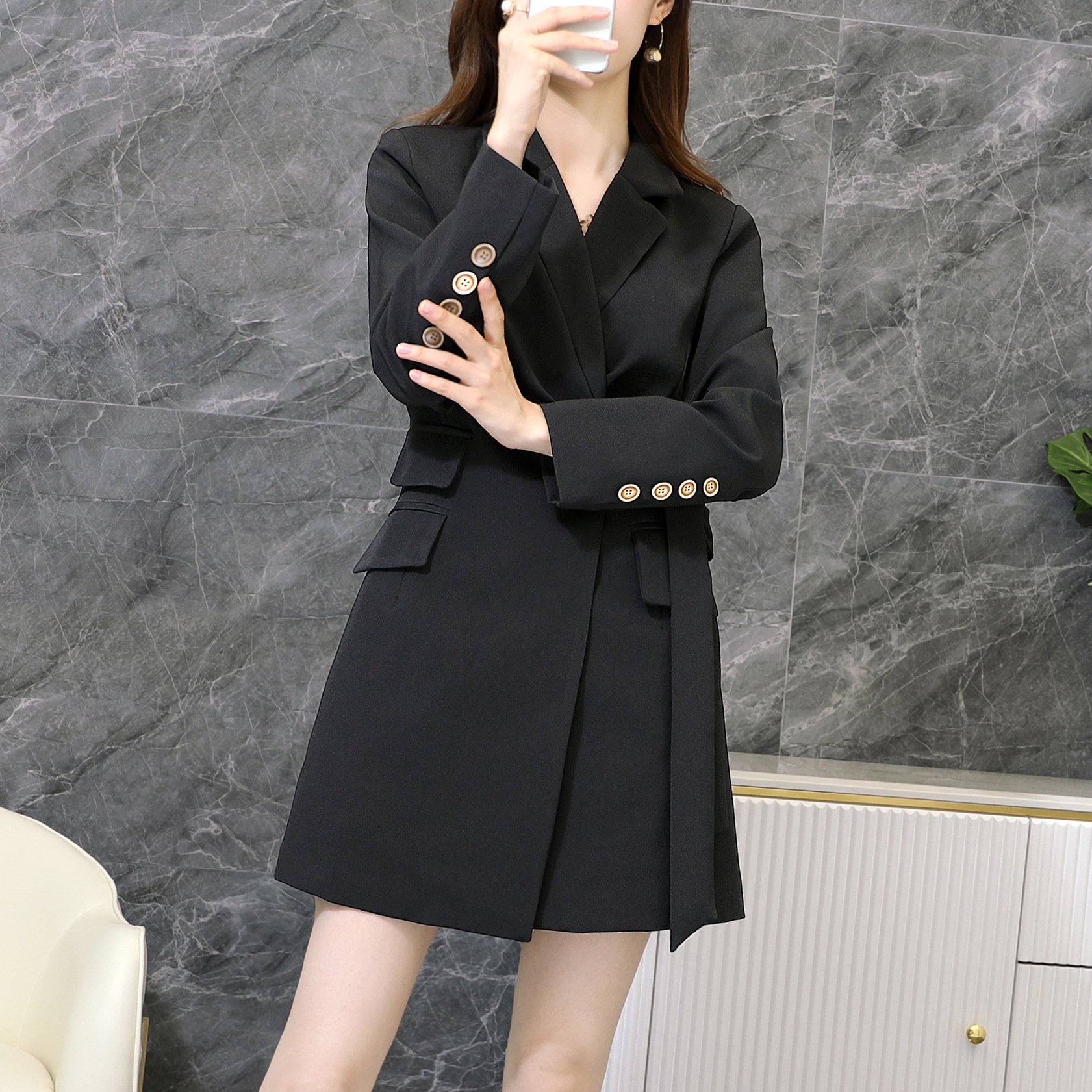 M-5XL High Quality Female Blazer 2020 new autumn and winter solid color mid-length ladies jacket Ladies loose fashion small suit