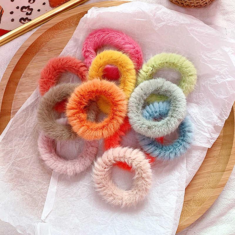 Invierno Imitación Piel de conejo pelo anillo suave felpa Scrunchies Color caramelo bandas elásticas para pelo cuerda mujeres suave niñas niños accesorios para el cabello
