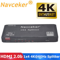 2019 4K 60Hz HDMI Splitter 1x2 1x4 HDMI 2.0 Splitter 4K HDMI Splitter HDCP 2.2 4 Port HDMI Splitter Switcher for PS4 Apple TV