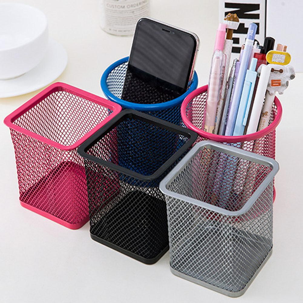 10cm Mesh Metal Pen Pencil Brush Pot Holder Storage Container Office Desk Organizer Office Storage Pencil Holder