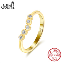 Effie Queen Irregular Finger Ring  925 Silver With 5 Big Crystal  AAAA Zircon Ring For Wedding Anniversary Jewelry Gift BR164 effie queen trendy big charming women ring 196 pieces zircons paved smoothly real luxury crystal finger ring for party dr123