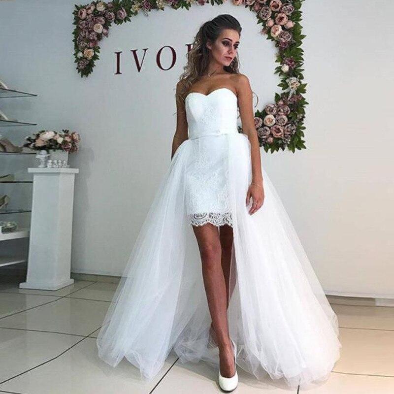 Robe De Mariage Custom Made Detachable Skirt Short Wedding Dress 2019 Sweetheart Bridal Gowns Sheath Vestido De Noiva