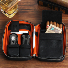GALINER Real Leather Cigar Case Travel Portable Humidor Bag Luxury Box Fit 5 Cuba Cigars