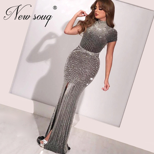 Image 1 - Beaded Mermaid Evening Dress 2020 Custom Made Long Gown Islamic Dubai Kaftan Saudi Arabia Crystal Prom Dresses Robe De Soiree
