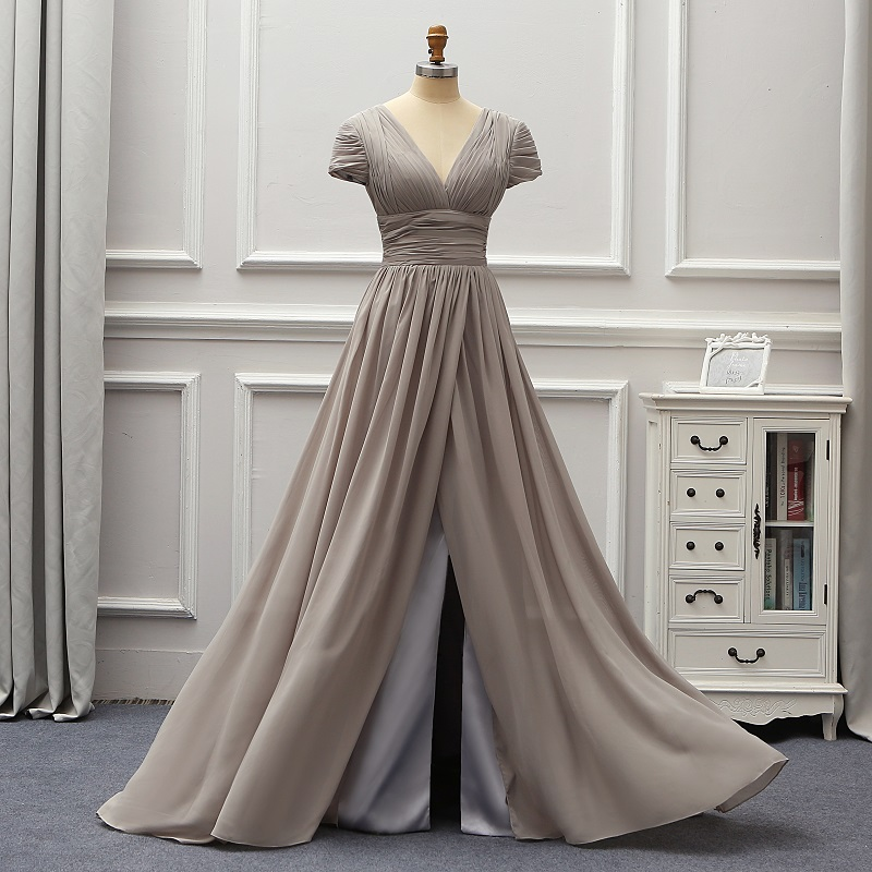 Grey Cap Sleeves Backless 2020 Fashion Evening Dresses  Vestido De Festa Longo Party Formal Dresses Mariage Brides Gown EV12