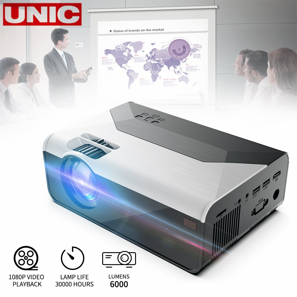 UNIC G08 800*480 Full HD Android Wifi Support AC3 150inch LED Video Projector With USB For Home Theater Cinema