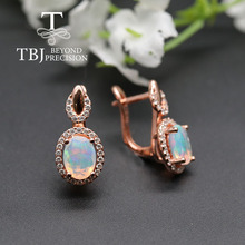 Top quality Opal Clasp earring ,oval cut 6*8mm 1.7ct natural gemstone 925 sterling silver rose  color fine jewelry tbj promotion