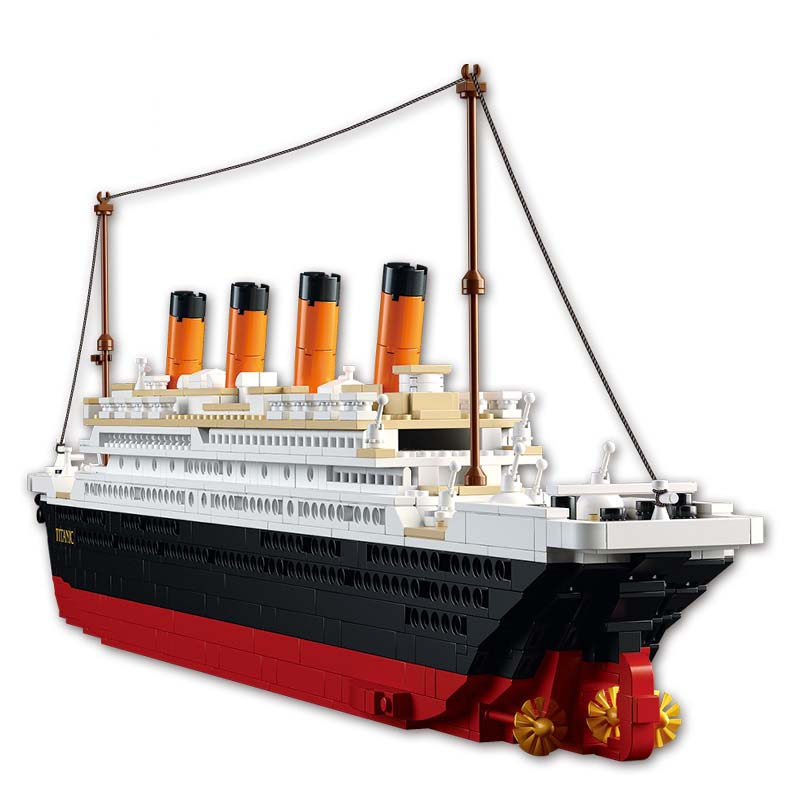 Model building kits LegoINGlys city Titanic RMS cruise ship 3D <font><b>blocks</b></font> Educational model building toys hobbies for children image