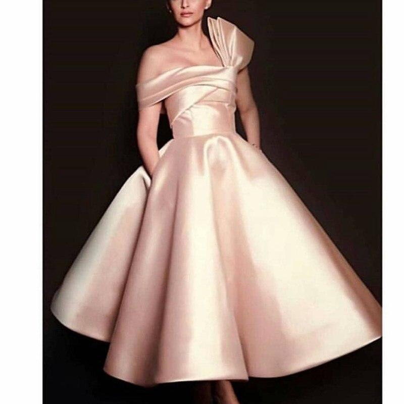 Off shoulder Ball gown Short evening dress Tea length Satin Pink Arabic evening gown Formal dress party Vestidos вкусняшки