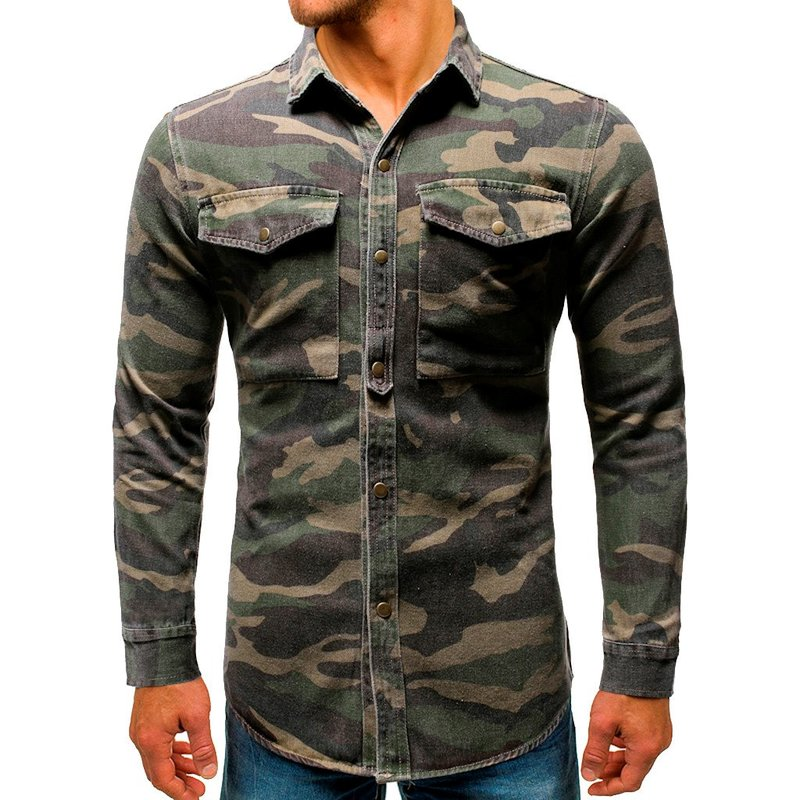Men Shirt Camouflage Button Up Denim Cargo Pocket Turn Down Collar Top Blouse Camisa Vaquera Plus Size Hawaiian 3XL Streetwear