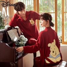 Disney Pooh couple pajamas 100% cotton long-sleeved thin men and women home service suit