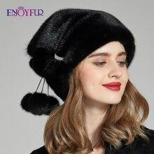 ENJOYFUR kış vizon kürk kadın şapka gerçek kürk ponpon kadın moda kap yeni lüks vizon kürk Lady Beanies