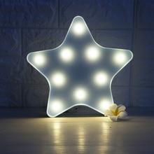 Cute LED Night Light Star Moon Cloud Lamp Wall Desktop Ornaments for Kids Christmas Bedroom Decoration