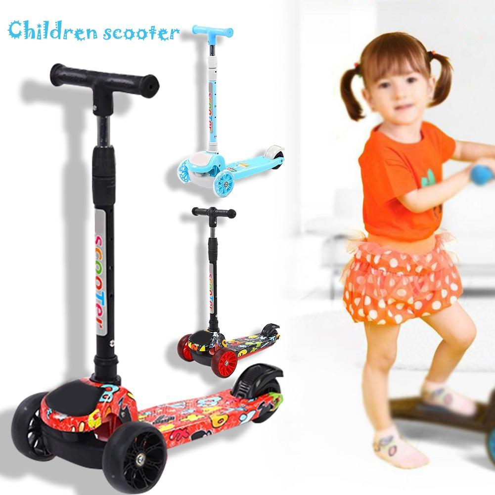 Enfants Scooter PU clignotant 3 roues enfants Scooter hauteur réglable en plein air Skateboard Patinete cadeau pour enfants enfants