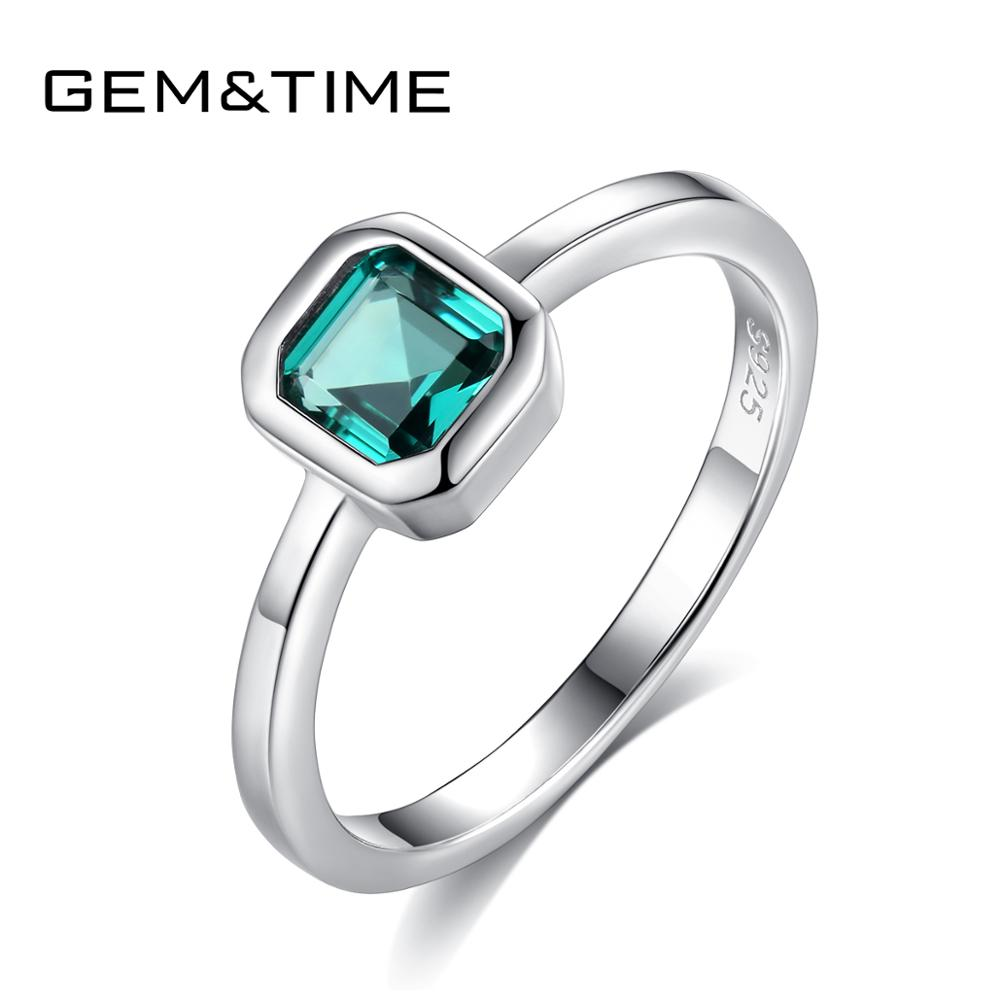 Gem&Time Created Oval Emerald Gree Ring Sterling Silver 925 Gemstone Ring For Women Fine Jewelry Anillos Mujer SR0171